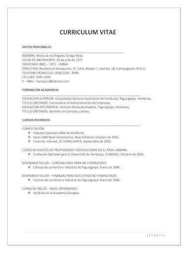 Curriculum Vitae Maria Zuniga Rivas