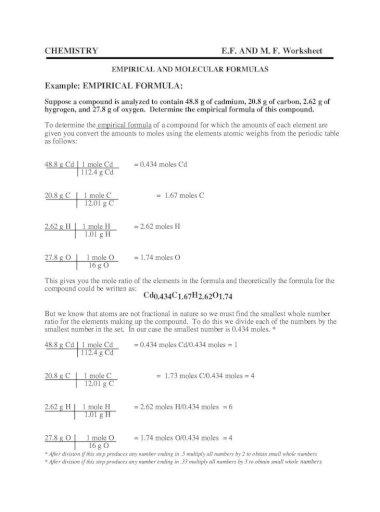Example Empirical Formula Empirical Formula Worksheet I Pdf Empirical And Molecular Formulas
