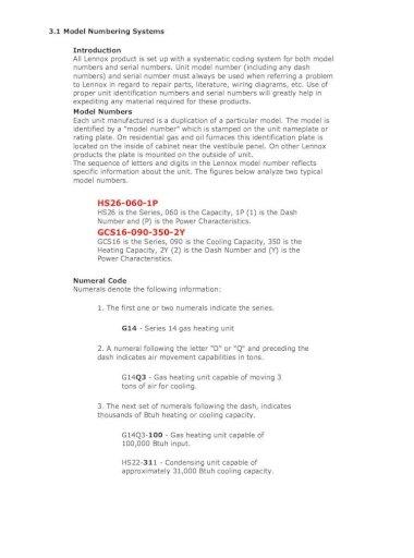 Lennox Serial Number Nomenclature