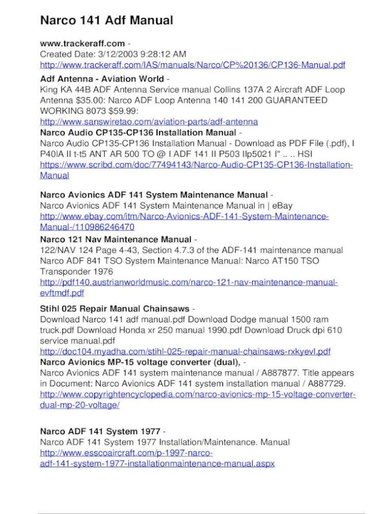 Narco 141 Adf Manual