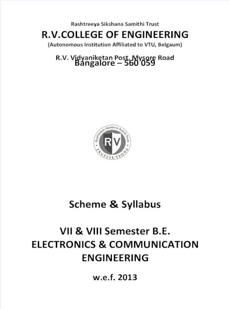 7th 8th Sem Syllabus Rvce Electronics