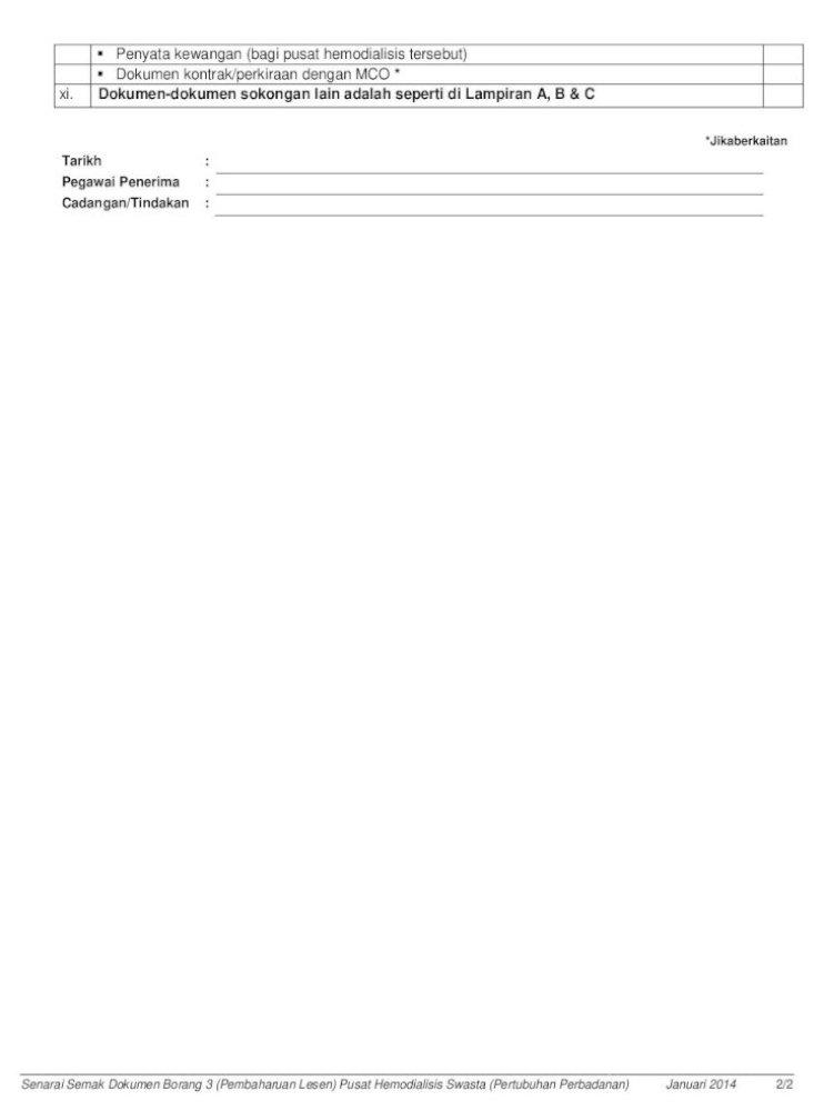 Senarai Semak Dokumen Borang 3 Pembaharuan Semak Borang 3