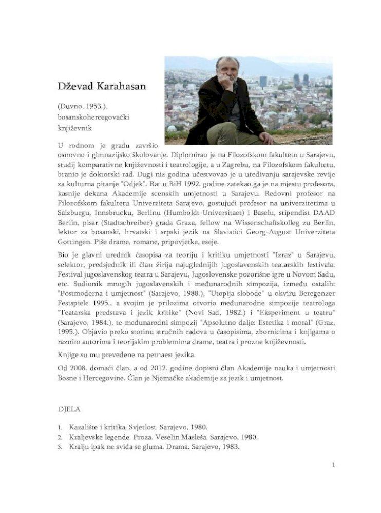 Dzevad Karahasan Biografija Za Web 2 10 1 Devad Karahasan
