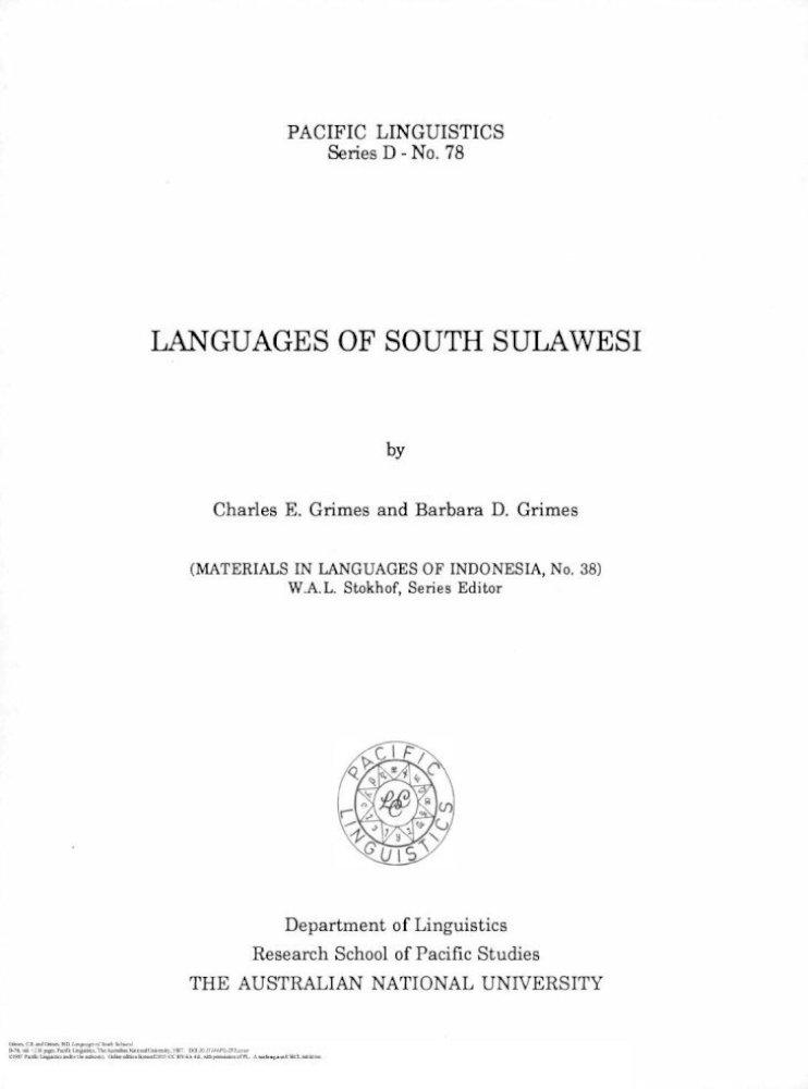 Languages Of South Sulawesi Diterbitkan Mengenai Bahasa Bahasa