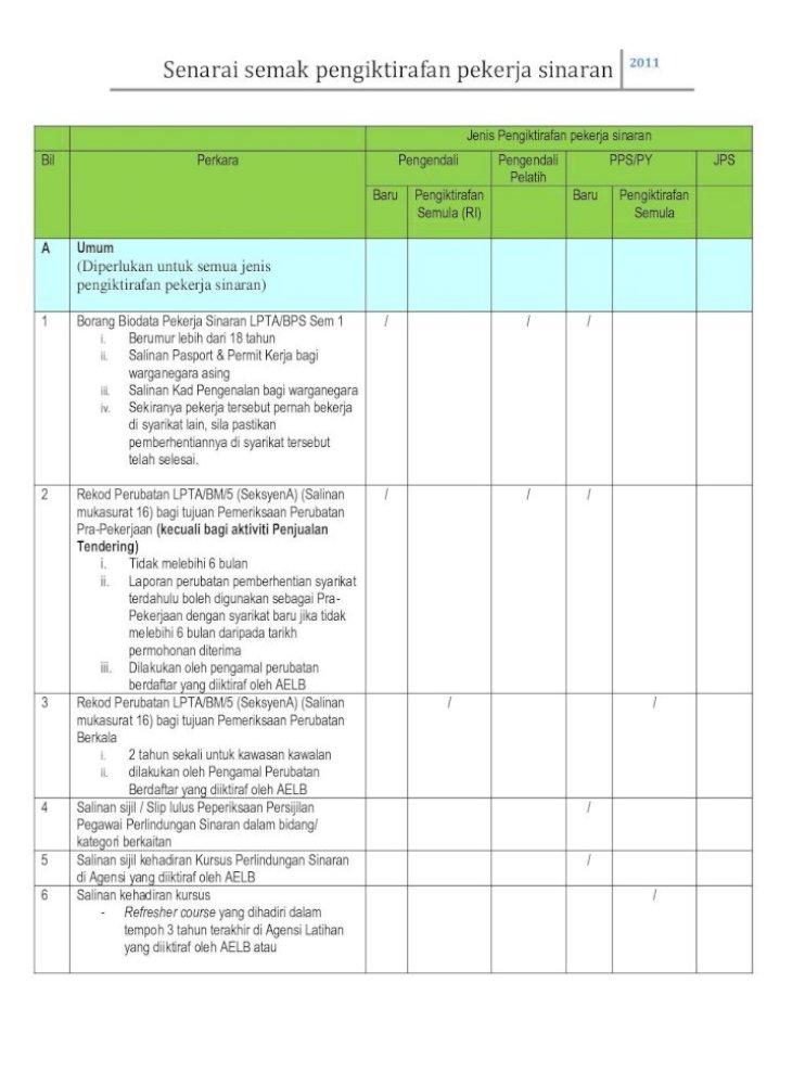 Senarai Semak Pengiktirafan Pekerja Sinaran Aelb Gov My