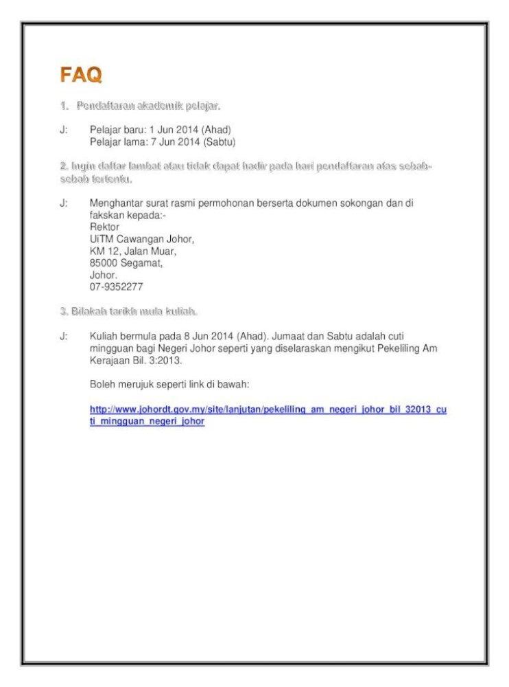 Pekeliling Am Negeri Johor Bil 32013 Cu Ti Mingguan Negeri
