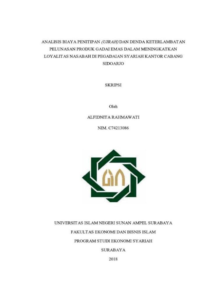 Analisis Biaya Penitipan Ujrah Dan Denda Rahmawati C74213086 Pdf