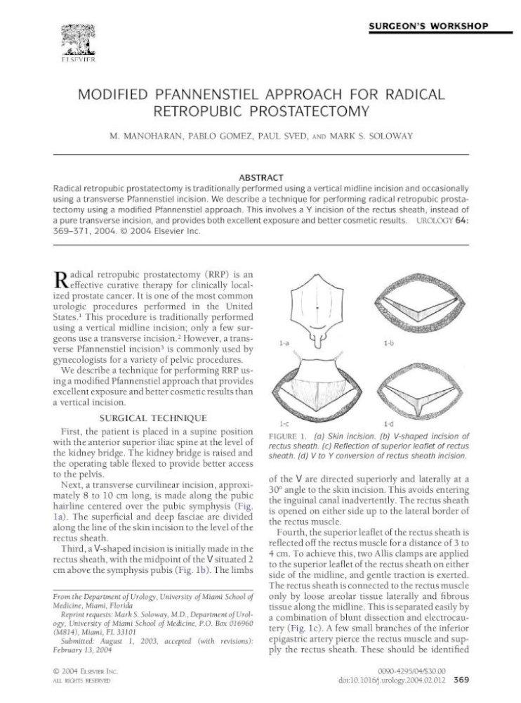 Modified Pfannenstiel Approach For Radical Retropubic Prostatectomy