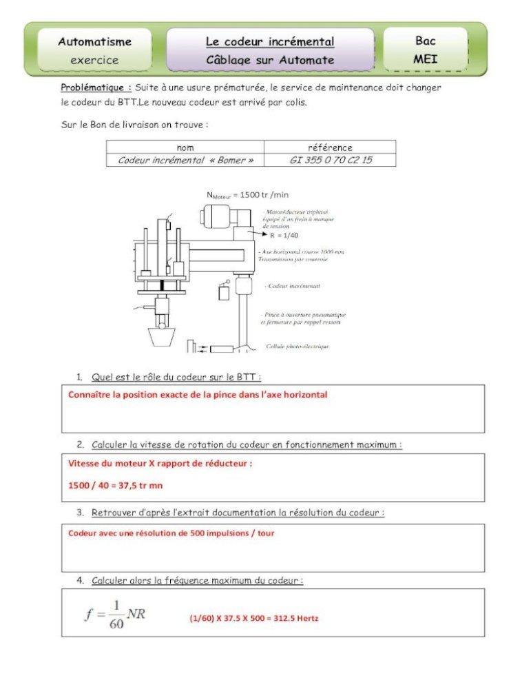 Automatisme Le Codeur Incremental Bac Exercice Exercice Codeur Btt Automatisme Exercice