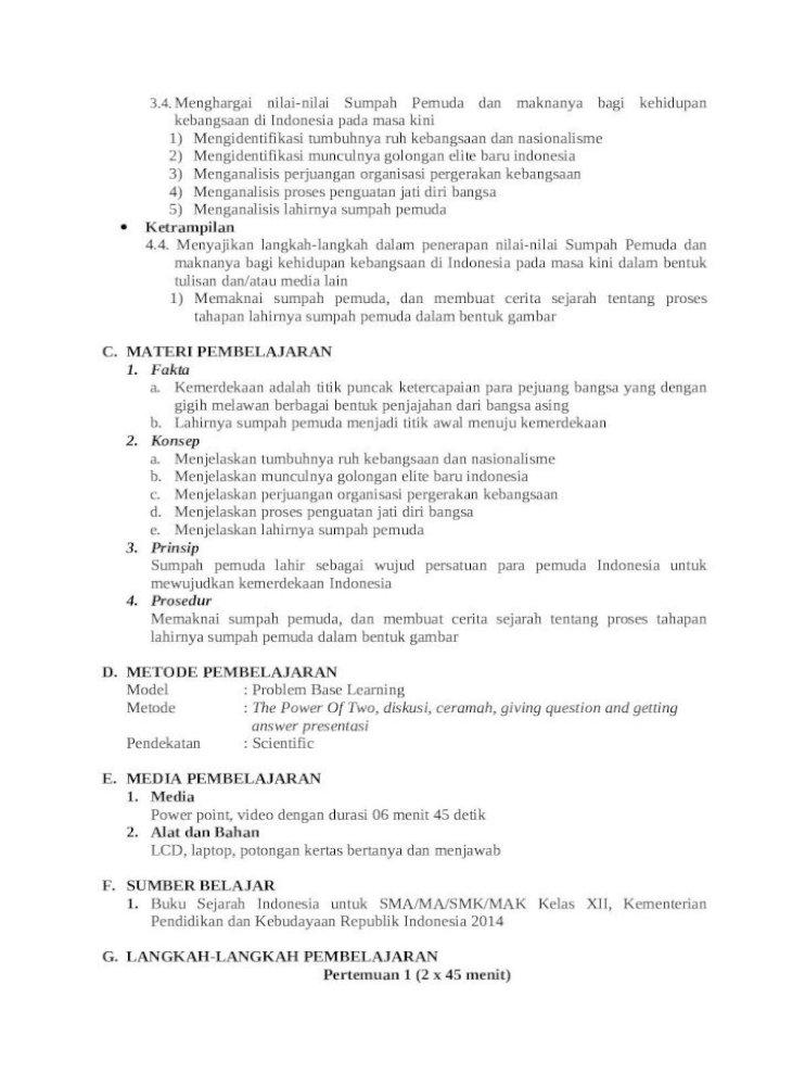 Rpp Sejarah Tentang Sumpah Pemuda Rpp 4 Web Viewrencana Pelaksanaan Pembelajaran Rpp Satuan Pendidikan Man Baureno Bojonegoro
