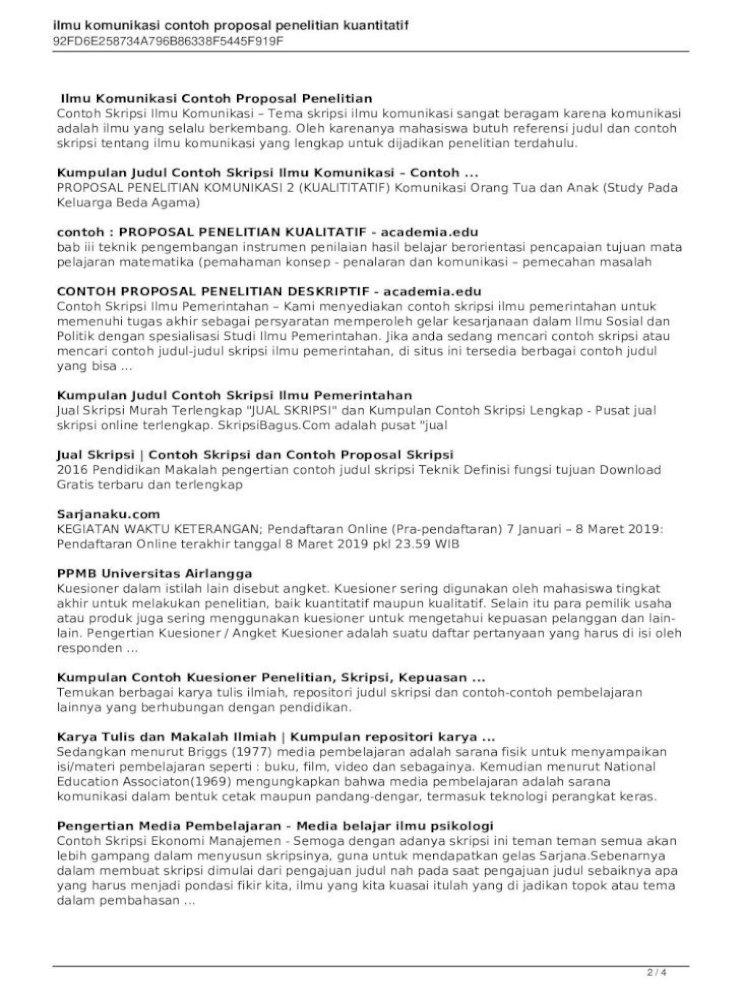 Ilmu Komunikasi Contoh Proposal Penelitian 100 Contoh Skripsi Pilihan Lengkap Ilmu Komunikasi Terbaru