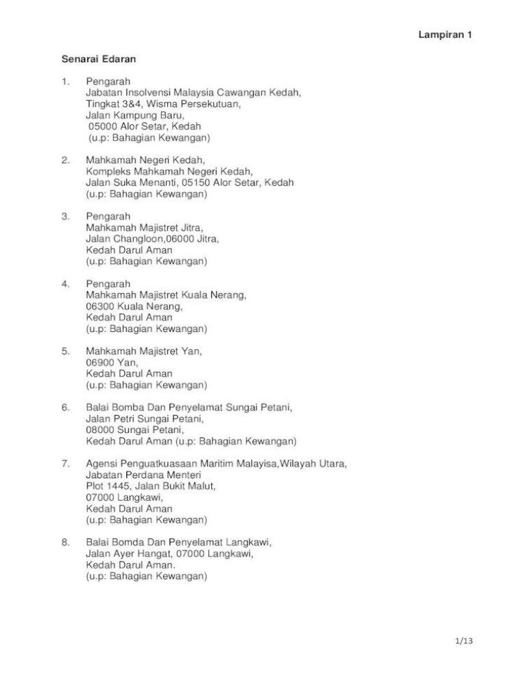 Lampiran 1 Senarai Edaran Portal Rasmi Jabatan Padang Tembak 50556 Kuala Lumpur U P Bahagian Kewangan