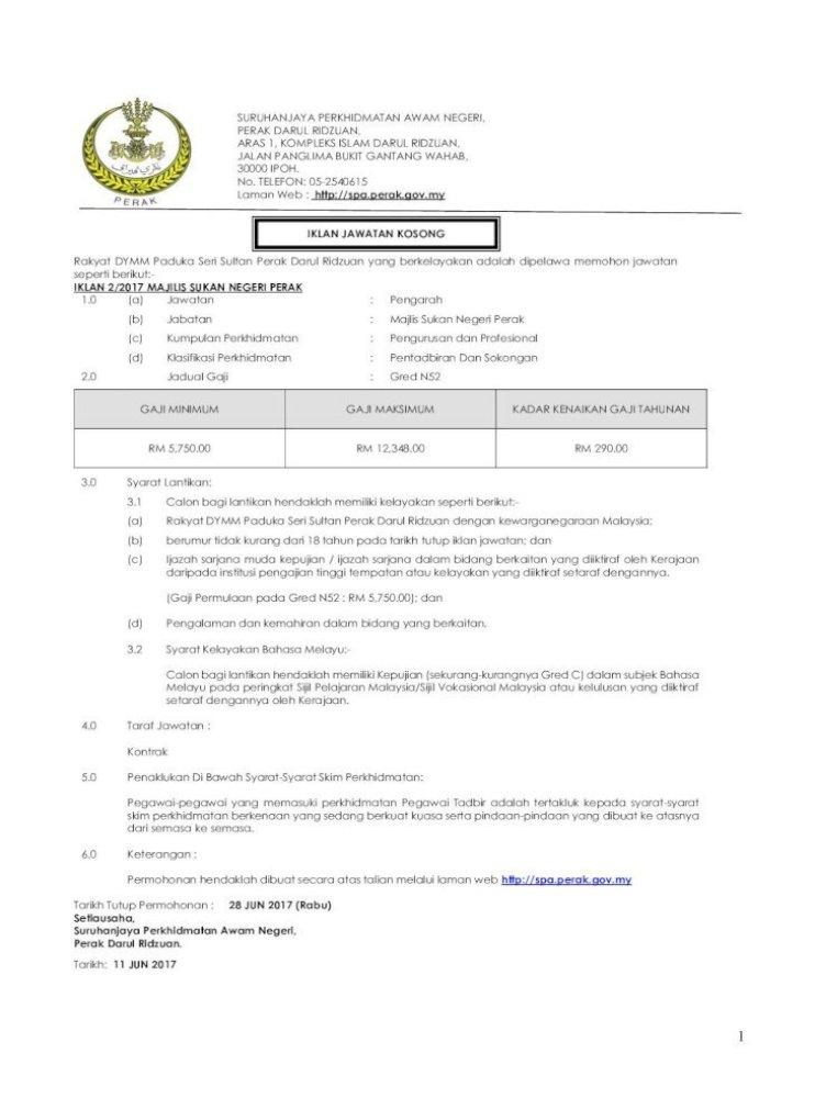 Iklan Jawatan Kosong Iklan 2 2017 Majilis Sukan Spa Perak Gov My Images Pdf Pegawai Perkhidmatan