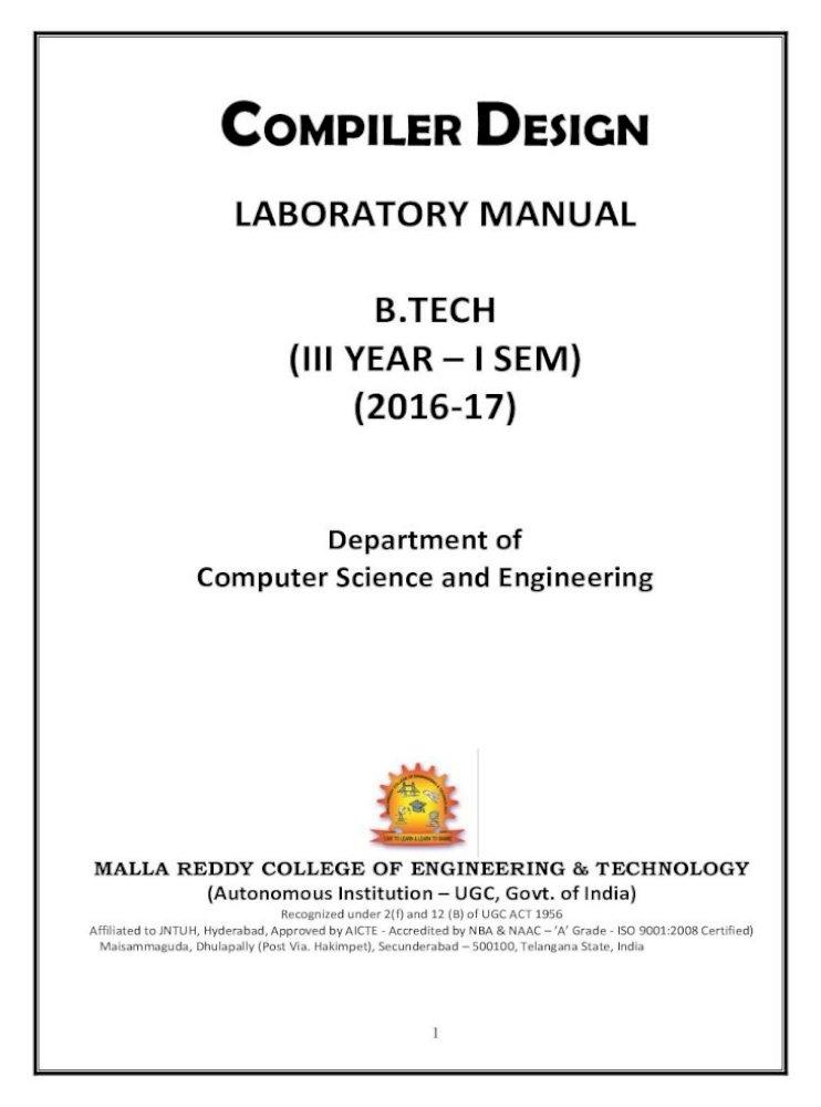 Compiler Design Mrcet Com Manuals Cse Iii I Sem Pdf Importance Of Compiler Design Lab Come