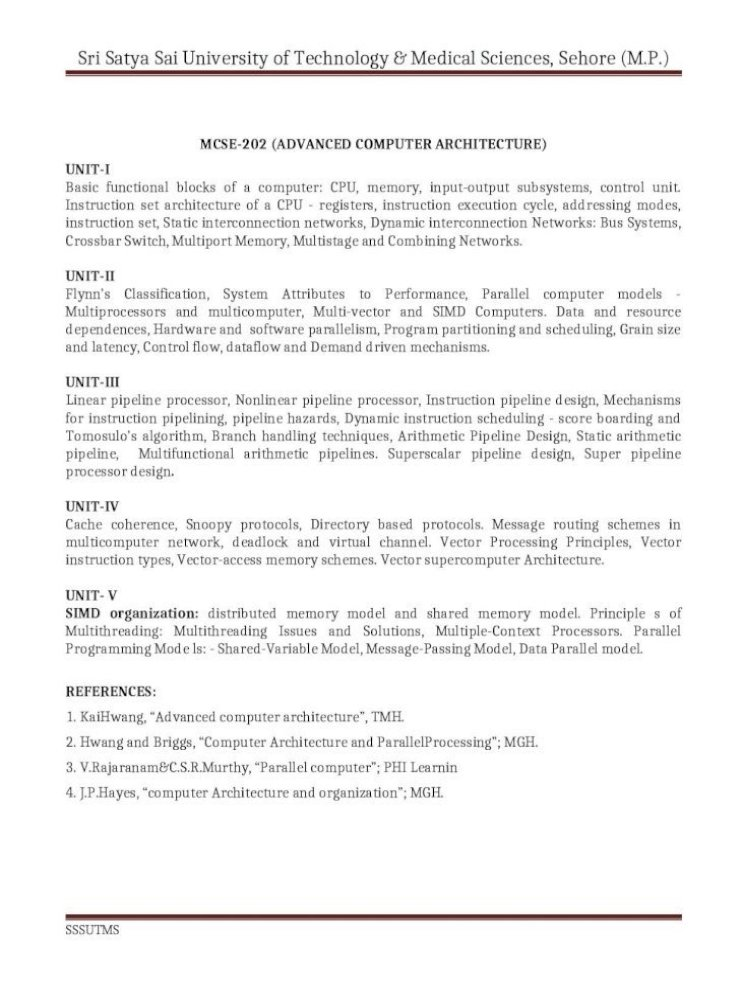 Sri Satya Sai University Of Technology Medical Ii Sem Sy Web Viewlinear Pipeline Processor Nonlinear Pipeline Processor Instruction Pipeline Design Mechanisms For Instruction Pipelining Pipeline Hazards Dynamic Instruction Scheduling Score