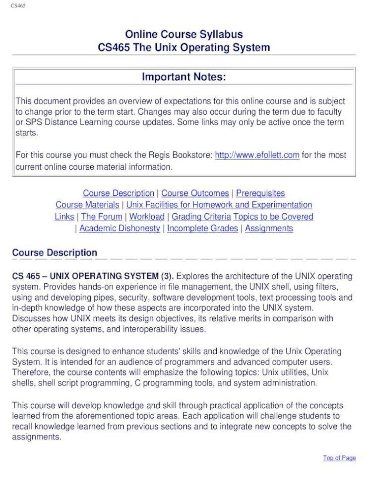 Online Course Syllabus Cs465 The Unix Operating System Important Notes Online Course Syllabus Cs465 The Unix