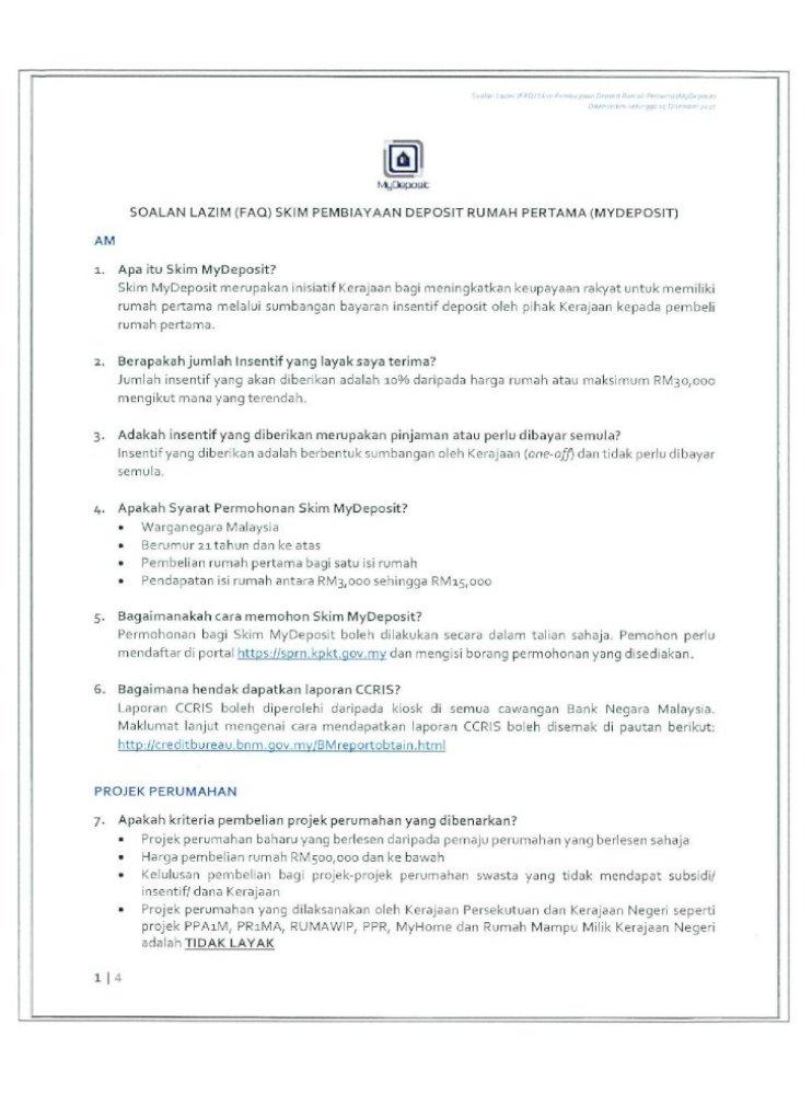 Soalan I Azim Faq Skim Pembiayaan Deposit Rumah Pertama Mydeposit Am 1 2 3 5 6 Apa Itu Skim Mydeposit Skim Mydeposit Merupakan Inisiatif Kerajaan