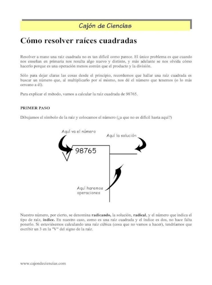 Cómo Resolver Raíces Cuadradas Cajón De Mate2 Resolver A Mano Una Raíz