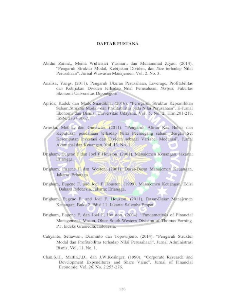 Daftar Pustaka Size Pustaka Pdf Keputusan Pendanaan Terhadap