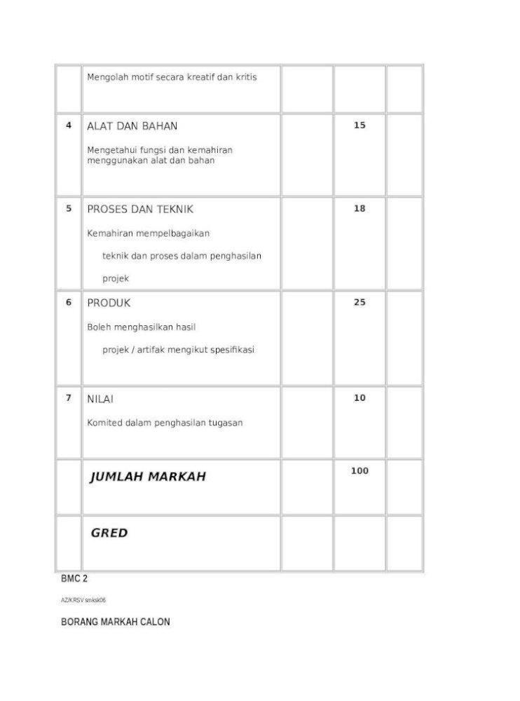 Borang Bmc Dan Surat Krsv Rozzoll Web View4 Kemahiran